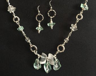 Lake Superior Beach Glass Necklace and Earrings