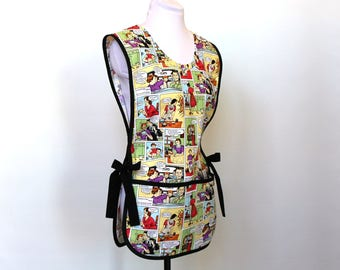 Dysfunctional Family - Fun Cobbler Smock Style Cotton Apron with two big pockets - Teacher apron - Michael Miller fabric