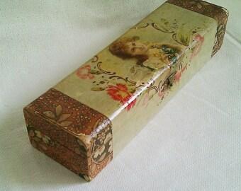 Vintage Victorian Glove Box/Hankie Box/Jewelry Box, Feminine Graphic, Celluloid