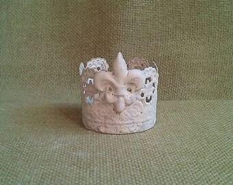 Fleur de lis Crown/Tiara, Handmade w/Vintage Salvaged Metal and Clay, Ornate Details