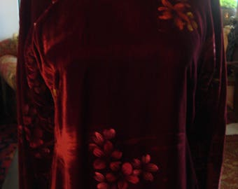 Vintage 1960s Velvet Burgundy Red Afghan Boho Dress