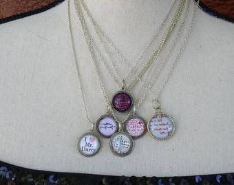 Lot Handmade Jane Austen Jewelry Necklaces Glass Pendants Darcy Bath Bridesmaids Wedding Janite Literature Sisters  Gifts Pride Girlfriends