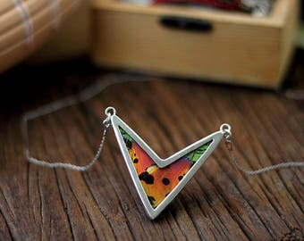 Real butterfly jewelry Gift insect jewelry Arrow necklace Statement necklace for wife Girlfriend necklace gift Mom day necklace Woodlands