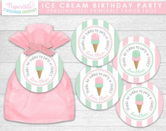 Ice Cream Theme Happy Birthday Party Favor Tags | Pink & Green | Personalized | Printable DIY Digital File