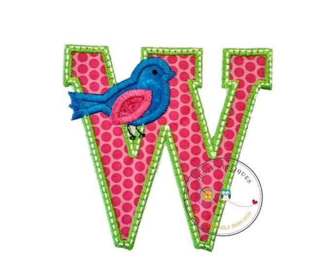 ON SALE NOW Letter w with song bird and white/green trim - iron embroidered fabric applique patch embellishment- ready to ship