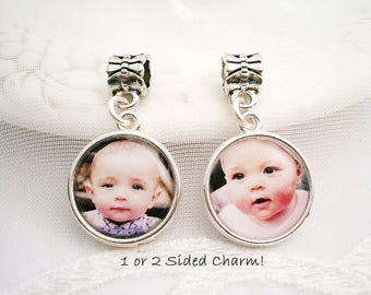 Photo Charm for Pandora Bracelet 1 or 2 Sided Charm Bridal Bouquet Charm Bride Gift European Dangle Photo Charm Gift for Wife Bracelet Charm