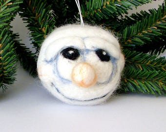 Needle Felted Snowball Christmas Tree Bauble Wool Ball Hanging Christmas Decoration Felted Snowball