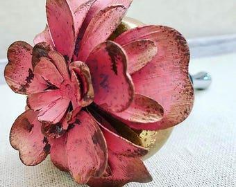 Pink Flower Rose Gold Vintage Doorknob Wine Bottle Stopper