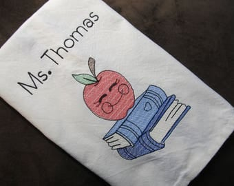 Personalized Teacher's Kitchen Tea Towel - Makes a Great Gift for A Teacher - Apple & Books - Embroidered