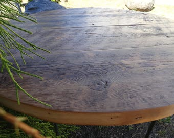 Industrial dining table antique old barn wood raw steel for Reclaimed wood furniture bend oregon