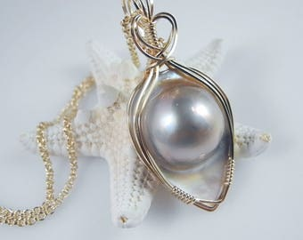 Large Mabe Pearl Pendant, June Birthstone, Blister Pearl, Pearl Jewelry, Wedding Jewelry, 16 mm Iridescent Pearl, Pearl Necklace, Wire Wrap