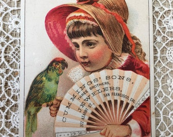 Sweetest Victorian Trade Card-Little Girl with Parrot