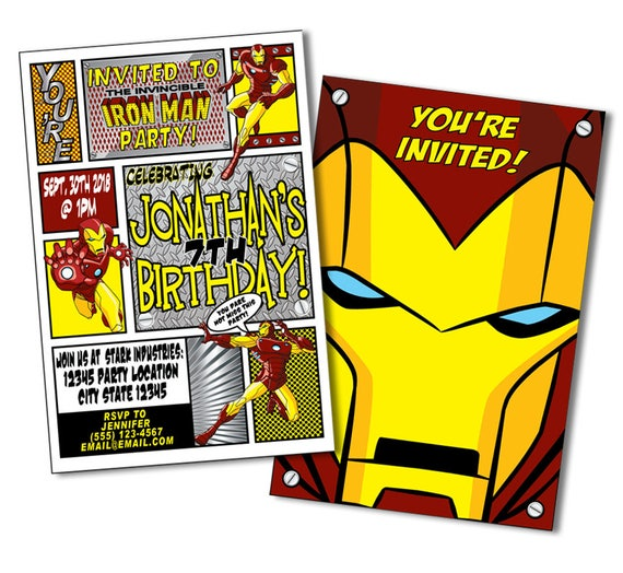 Superhero Invitation Iron Man Birthday Ironman Invitations Iron