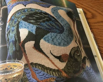 BIRD AND FISH  - Cushion/Pillow - Needlepoint Pattern Only