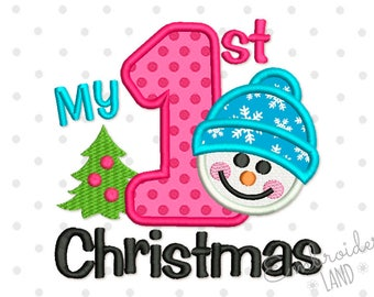 My first Christmas Snowman Applique Machine Embroidery Design CHR063
