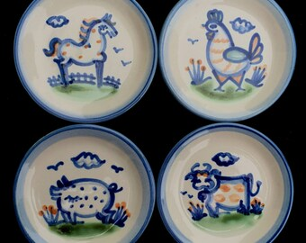 """M.A. Hadley """"Country Scene Blue"""" Set of Four Coasters with Animals in Excellent Condition"""
