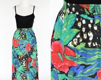 SUMMER SALE Vintage 1980's Tropical Print Midi Skirt- 80's A-line Tropic Rayon Skirt- ladies size Medium