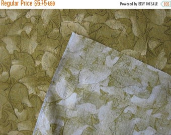 40% OFF Cotton Quilt Fabric Mustard Leaves Gold Embossed Leaf - Nearly 1 Yard - CFL0540