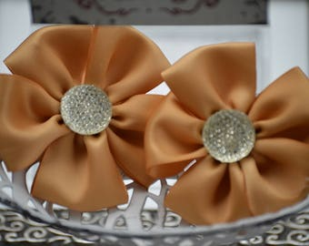 "3"" Satin Fabric Flowers, Set of 2 Old Gold Satin Ribbon Flowers,  Satin Flower,  Satin Flowers, Ribbon Flowers, 20 Colors,"