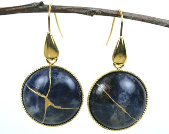Kintsugi (kintsukuroi) sodalite stone dangle earrings with gold repair in a gold plated setting with gold plated teardrop ear wires - OOAK