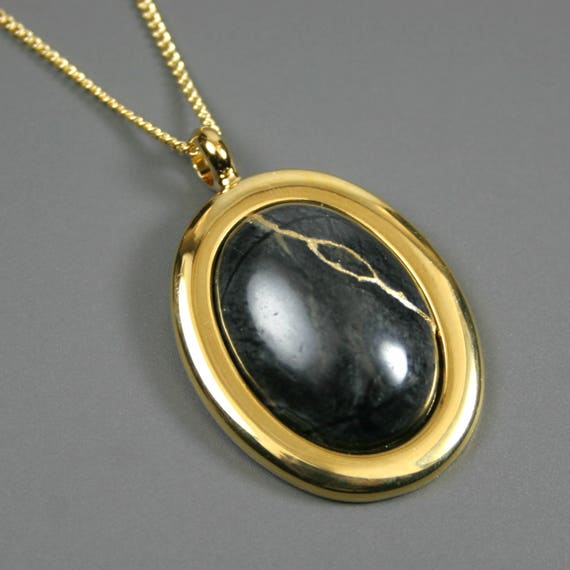 Kintsugi (kintsukuroi) Picasso jasper stone cabochon with gold repair in a gold plated setting on gold chain - OOAK