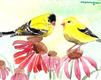 ACEO Limited Edition 1/25- Summer duo, Goldfinch, Cute bird art print of an original watercolor, Gift for bird lovers