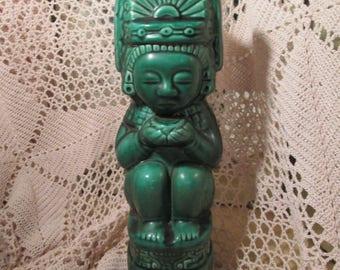 Vintage Green TIki Kahlua Bottle, 1937