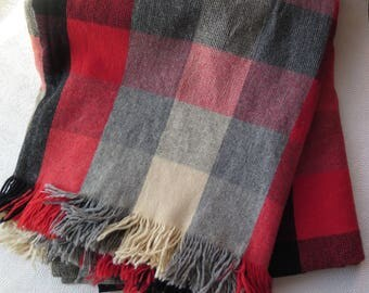 Plaid Stadium Blanket Lap Blanket Fringed Pendleton Style Throw Wool Red Gray Black White Plaid Vintage Blanket Christmas Decor Winter 1950s