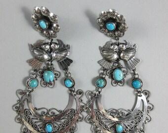 FEDERICO JIMENEZ~Turquoise/Dove~Oaxaca~925~Statement Size~Filigree Earrings