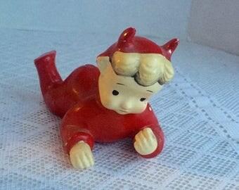 CIJ Vintage Ceramic Little Devil Figurine / Hand Painted Devil Made in Japan