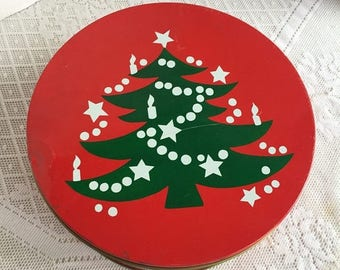 CIJ Red and Green Metal Container / Vintage Christmas Tree Cookie Tin / Vintage Home Decor / Kitchen Storage