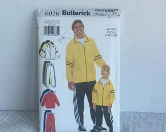 Back to School Sale Father and Son Track Suit Pattern / Vintage Sewing Pattern by Butterick / Uncut Sewing Pattern 6026