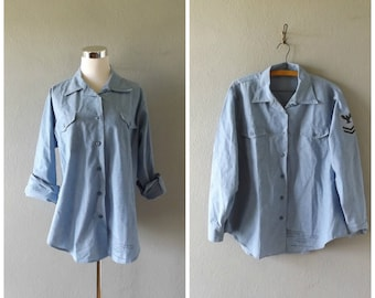 navy military chambray shirt - vintage 60s button down light blue oxford - size 20 x 32 l / large - hipster grunge cotton top - 1960s hippie