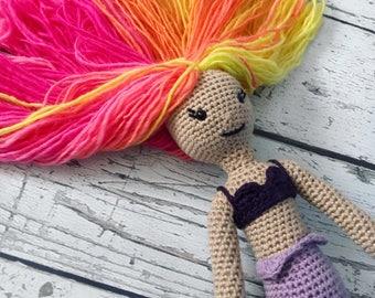 Nixie the Mini Mermaid, Crochet Mermaid Stuffed Animal, Mermaid Amigurumi, Plush Animal, Ready to Ship