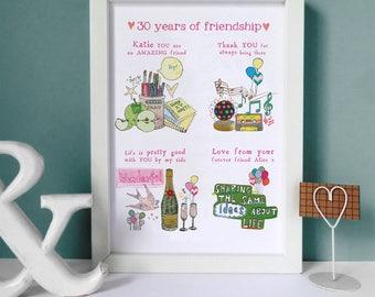 Personalised Friendship Print - Friendship keepsake - Best friend gift - Gifts for Friends - Milestone birthday gift
