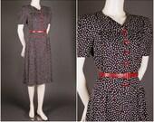 1930 1940 bird print summer dress navy cream red  size S (UK 10 12)