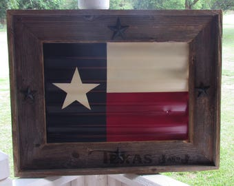 TEXAS flag framed tin rustic; Texas flag; Texas decor; Texas art