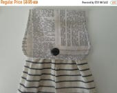 CIJSALE Hanging Kitchen Towel - Dictionary Print Fabric Top Off White With Black Stripes Cotton Woven Towel Button Closure