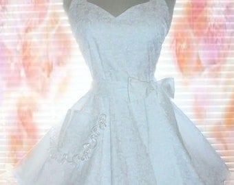PLUS SIZE White Bridal Apron, Wedding Dress Cover, Bridal Shower Apron Made From White on White Designer Cotton