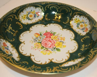 Daher Tin Bowl 1971 Daher Decorated Ware Floral Metal Bowl Green Made in England Designed Long Island
