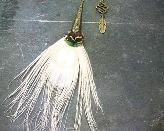 White Peacock Feather Earrings with Bronze Detailing