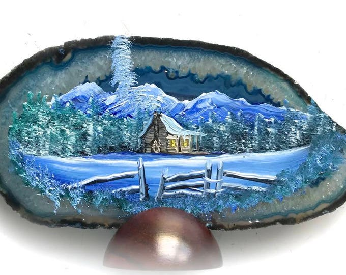Hand Painted Brazilian Agate Winter Log Cabin Blue Agate