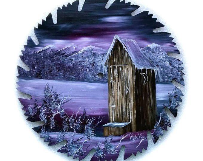 Hand Painted Saw Blade Mountain Mauve Winter OUT HOUSE
