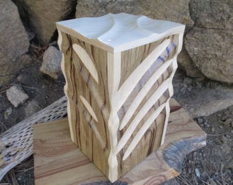 Sculpted 2Tone Black Limba and Maple Wood Urn / Large Capacity Urn