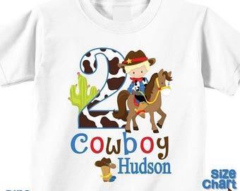 SALE Personalized Cowboy Western Blonde Birthday Party Shirt T-shirt Bodysuit Western Cowboy Hat Rope Cactus West Pretend Dress Up