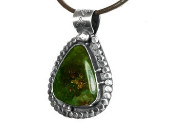 Green Turquoise Necklace | Sterling Silver Pendant | Real Natural Gemstone | Gender Neutral | Perfect Gift