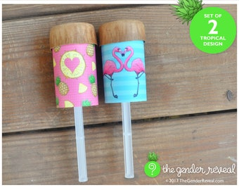Tropical Confetti Push-Pops for Gender Reveal Parties - Set of 2