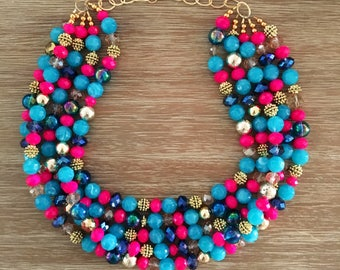 Our Cabana Necklace Gorgeous Golds, Bright Pinks, Mermaid Crystals and Robins Egg Blue