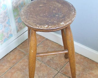 Old Vintage Wooden Stool, Wooden Kitchen Stool,