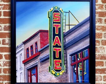 Urban America Painting Street Scene with neon sign in Black Frame